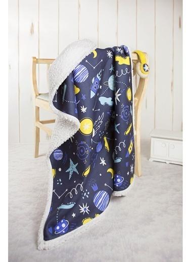 Hamur Fluffy Bebek Battaniyesi 80x100 cm Space Koyun Tüyü Battaniye Lacivert
